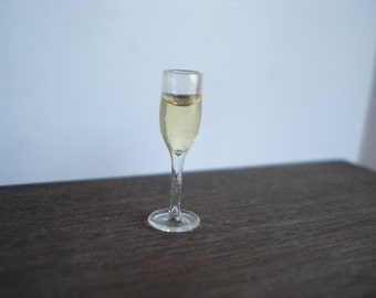 Dollshouse miniature champagne glass,  1:12 one inch scale wine,  miniature wine glass, miniature food,  dollshouse kitchen