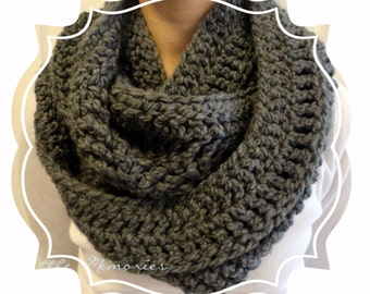 Charcoal Gray Infinity Scarf, Crocheted, Women's, Color Choice