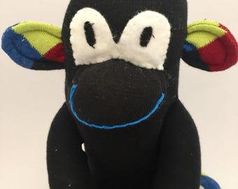 Sock monkey, handmade monkey from argyle socks, gift for boy or girl, gift under 15
