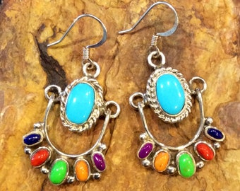 Native American Style Sterling Silver Turquoise with Multiple Gemstone Dangle Chandelier Earrings