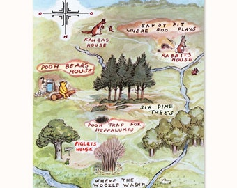 "Hundred Acre Wood Map (Winnie the Pooh, Nursery Map Wall Art, Cartography Decor, Boy Baby Shower Girl) Pooh Bear Artwork - ""100 Aker Woods"""