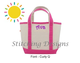 Monogrammed tote bag, Personalized Tote bag, Canvas tote, Flower girl Tote, Kid's tote bag, Boat Tote Bag, Monogram tote - SMALL - 15 Colors
