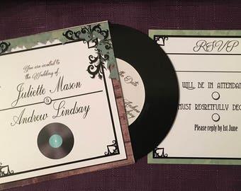 Rustic Vinyl Music CD / LP Wedding and Event Invitation   Outdoors Theme   Garden Invite