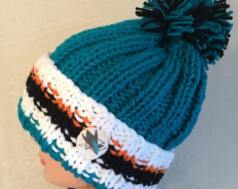 San Jose Sharks hat, Hockey hat, Chunky knit hat, Hand knit hat, Beanie hat, Slouch hat,, Pom pom hat, Team hat, Winter hat, Hockey toque