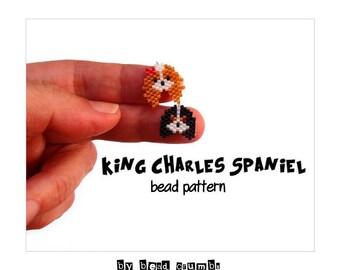 Cavalier King Charles Spaniel Beading Pattern, Brick Stitch
