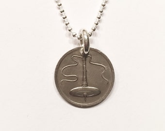 Supported or Bottom Whorl Spindle Coin Pendant Sterling Silver