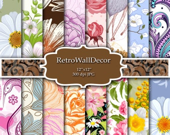 Floral Digital Paper Shabby Chic Papers Floral Patterns Scrapbook Floral Decoupage Papers Vintage Paper Floral Backgrounds Buy 2 Get 1 FREE