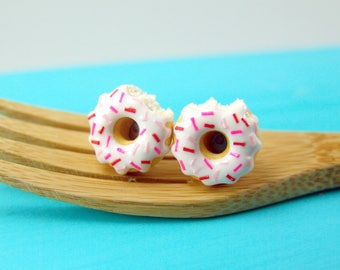 Food Earrings // Donut Earrings with Pink and Red Sprinkles // READY TO SHIP // Post Earrings