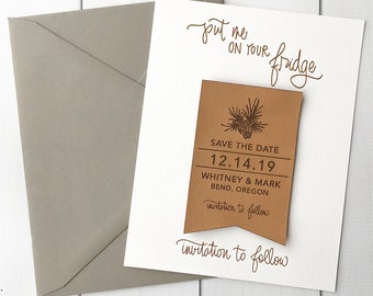 Faux Leather Save the Date Magnets - Pinecone save the dates - rustic wedding save the date invitations