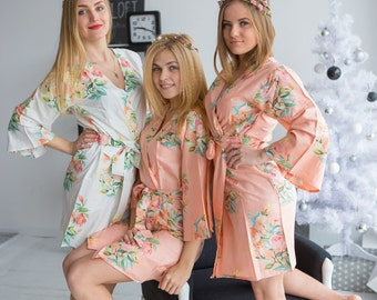 Premium Peach Bridesmaids Robes - Dreamy Angel Song Pattern - Soft Rayon Fabric - Better Design - Perfect as getting ready robes