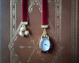Velvet Bookmark with Watch and Vintage Pearls