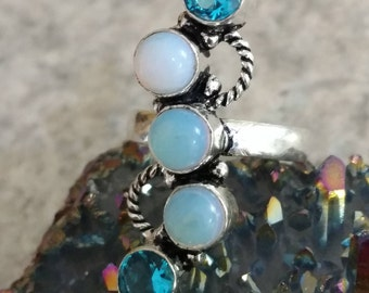 Opalite and Blue Topaz  Ring, Size 8 1/2