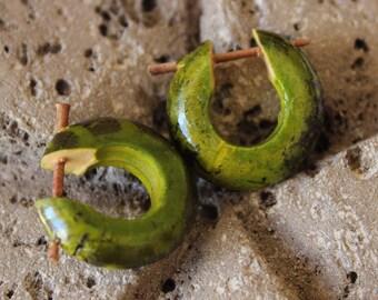 Organic anise green painted wood hoop earrings