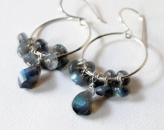 Labradorite Silver Hoop Earrings  Boho Gemstone Hoop Earrings  Labradorite Flash Silver Jewelry