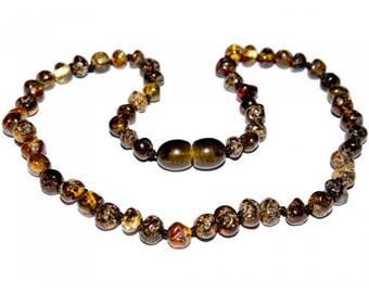 Genuine Baltic Amber Baby Teething Necklace Green