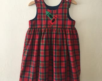 Vintage Girls Pinafore Jumper Plaid Dress w/ Crayons Applique Size 4t