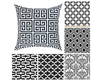 Black and White Decorative Pillows.Pillow Covers.Greek Key Throw Pillows.Black and White Euro Sham.Couch Pillows.Accent Pillows