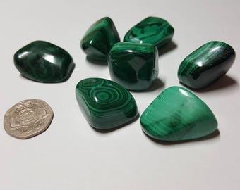 Malachite Tumbled, Healing Stone, Tumbled Stone, Tumble Stone, Tumbled Crystals, Semi Precious Stones, Chakra Stones, Healing, Malachite