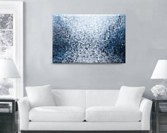 Abstract Art Dot Painting, 24x36'' Abstract Painting Large Wall Art, Canvas Art Blue Modern Art, Acrylic Painting, Canvas Painting Dot Art