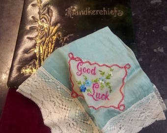 1920s handkerchief box with silk hanky