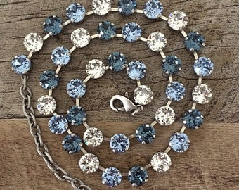 Swarovski Crystal Shades of Blue 8mm Necklace // Brushed Antique Silver Fimish // Gifts for Her