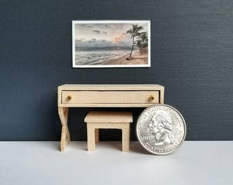 Modern Wood Miniature Desk and Stool for Doll House  1:24 Scale 1/24 Scale
