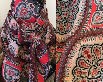 Red and Grey Paisley Wild Rag