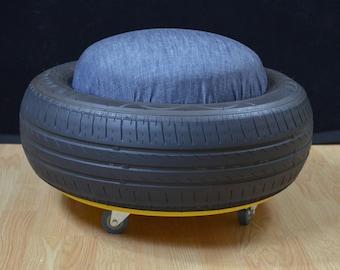 Tyre Stool on Wheels