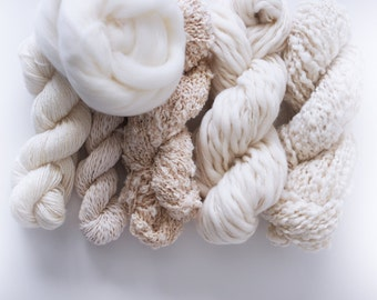 Weavers | Dyers Yarn Pack . Natural Undyed Yarns . Crochet Knitting Weaving Dyeing . Merino . Cotton . Roving
