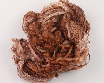 Caramel copper peach Weaving supplies Silk embroidery Thread Silk ribbon sewing quilting thread embellishment Hand Dyed Variegated thread