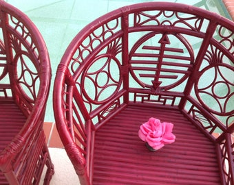 CHINESE CHIPPENDALE BAMBOO Chairs / Pavilion Style Fretwork Chairs / Pair of Vintage Bamboo Rattan Chippendale Chairs at Retro Daisy Girl