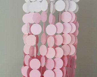Pink Ombre Paper Crib Mobile, Modern circle mobile, geometric crib mobile, nursery mobile, teen room, dorm room, wedding decor