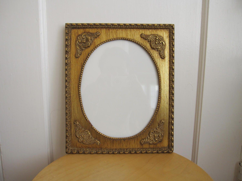 Pared de oro Vintage marco madera dorado, retrato Oval francés ...