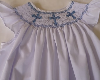Hand smocked bishop style dress with crosses