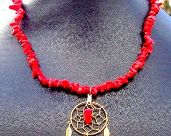 REALLY RED Coral dream catcher necklace, dreamcatcher necklace with red coral