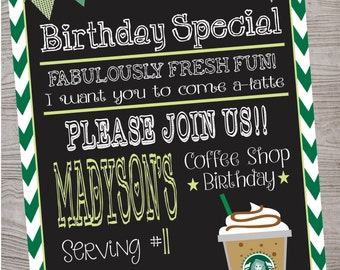 Cafe Coffee Shop Birthday Party Invitation printable digital file