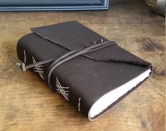 Handmade Leather Journal, Dark Brown Hand-Bound 4.75 x 6 Journal by The Orange Windmill on Etsy 1731
