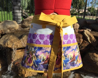 Plus SIze Sassy Rapunzel Half Utility Vendor Apron with 8 pockets, great for Gardening, Farmers Market, Teachers Gifts