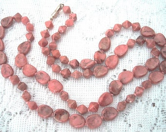 "Pink Glass Bead Necklace 30"" Long Stone Look Flat Ovals Vintage 1950's Bohemian Boho Chic Unique Unusual Statement Spring Summer"