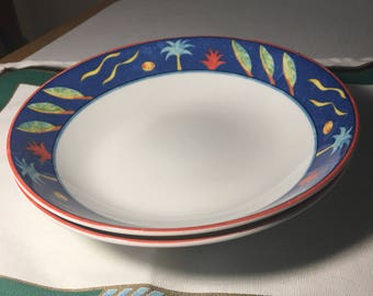 """Two coupe Bowls  8-1/4""""  1990s Barbados by Christopher Stewart"""