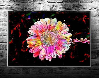 Gerbera flower pink original abstract painting. Gerbera flower pink original art digital download. Abstract flowers Gerbera pink.