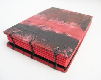Small notebook in red and black with red pages, little coptic book, small diary, gift under 20, one of a kind, gift for lover of red