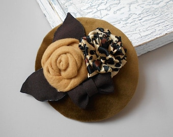 fascinator velvet with brown bow