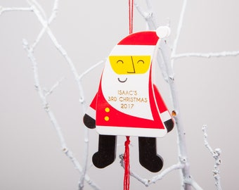 Personalised Santa Jumping Jack Christmas Bauble