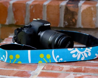 DSLR Camera Strap - Blue Padded Camera Strap - Nikon Camera Strap - Camera Accessories - Gifts for Photographer -  Camille - READY to SHIP