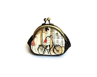 Retro Style Coin Purse - Paris Print Fabric - Kiss Lock Metal Frame Purse