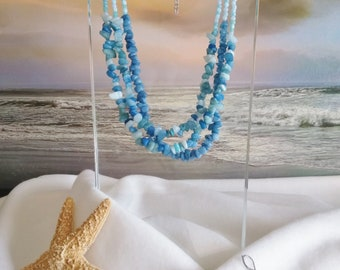 AQUA NECKLACE MULTISTRAND With Earrings