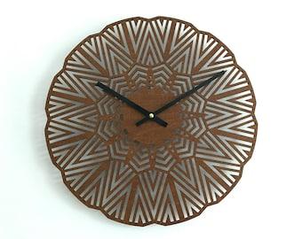 Silent hand made wood wall clock-laser-cut clock, wooden clock, wooden wall art, wood art, quartz, designer clock, minimalist.
