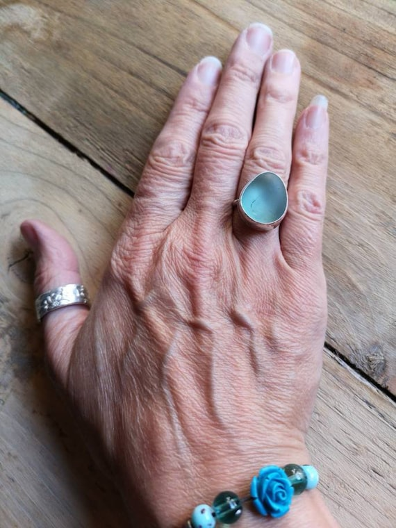 Sterling silver pale blue Seaham seaglass ring, size M UK