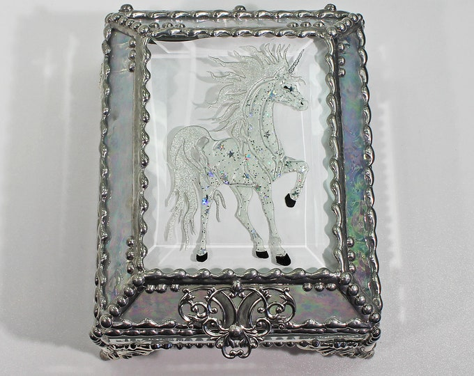 Unicorn, Horse, Equine, Treasure Box, stained glass box, stained glass, display box, jewelry box, , souvenir, mystic